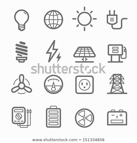 Atomi nukleáris energia ikonok vektor ikon gyűjtemény Stock fotó © stoyanh
