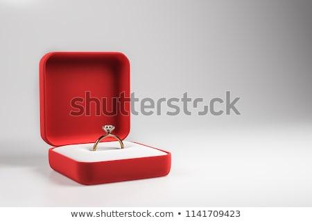 Anillo cuadro corazón dorado boda Foto stock © timurock