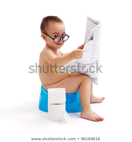 Little boy sitting on potty with newspaper Stock photo © erierika