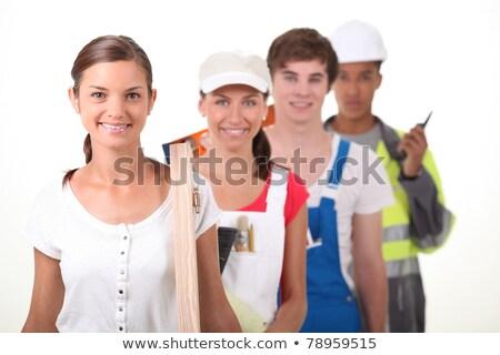 четыре · молодые · люди · различный · девушки · строительство · работу - Сток-фото © photography33