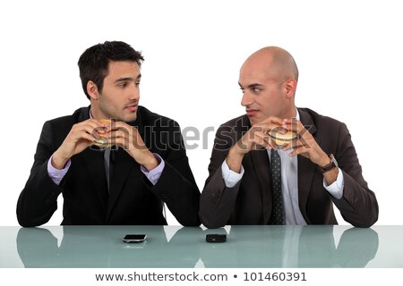 duo of businessmen eating hamburger Stock photo © photography33