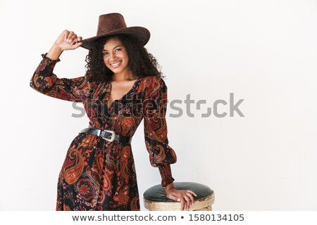 улыбаясь довольно западной Hat девушки Сток-фото © stuartmiles