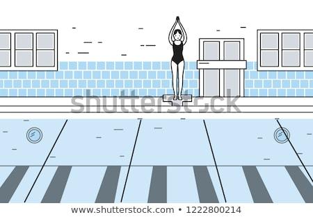 hermosa · pie · piscina · retrato · atractivo - foto stock © dash