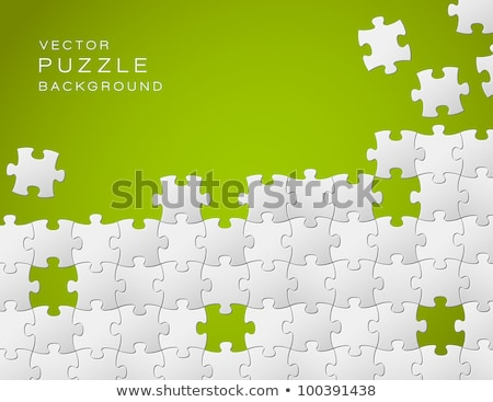 Stock fotó: Vector Green Background Made From White Puzzle Pieces