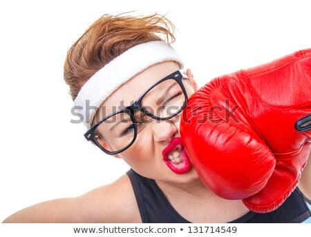 Boxe mulher careta engraçado ameaçador branco Foto stock © smithore