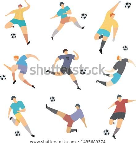 Big set of soccer players. Colored Vector illustration for desig stock photo © leonido