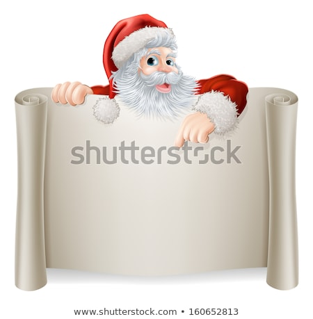 Santa Pointing White Blank Sign Stock photo © benchart