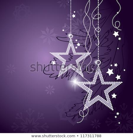 piękna · christmas · dekoracji · fioletowy · srebrny · biały - zdjęcia stock © juniart