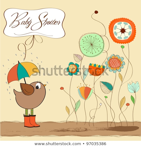 baby shower card with little bird stand in the rain stock photo © balasoiu