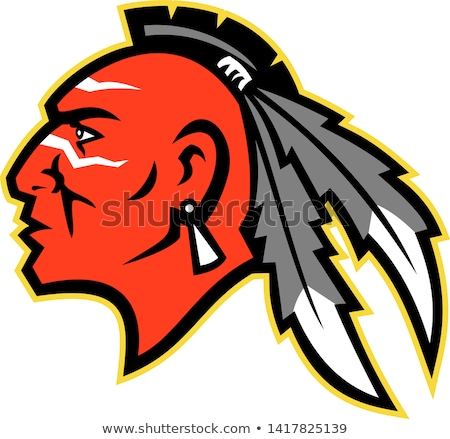 Indian Brave Mascot Head Vector Graphic Stock photo © chromaco