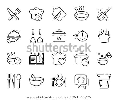 Cozinha ícones projeto vidro chá prato Foto stock © kariiika