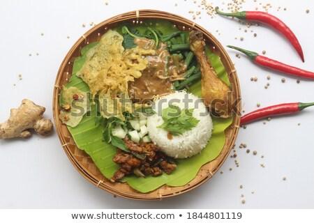 Indonesio arroz plato servido hortalizas Foto stock © photosoup