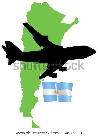 zászló · Argentína · térkép · sziluett · kártya · vidék - stock fotó © perysty