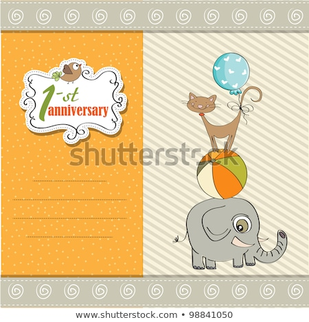 first anniversary card with pyramid of animals stock photo © balasoiu