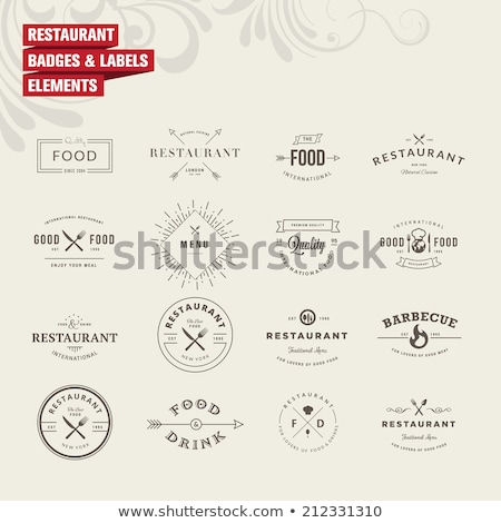 Stock photo: Vintage restaurant logo, badges and labels