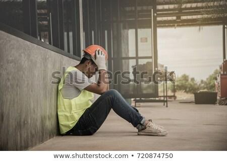 Mad bouwvakker hout werknemer stress pijn Stockfoto © photography33