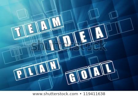 idea team plan goal in blue glass blocks stock photo © marinini