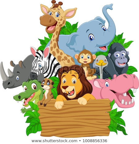 Animal cartoon with blank signboard stock photo © dagadu