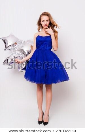 sorridente · beautiful · girl · preto · apertado · jeans - foto stock © acidgrey