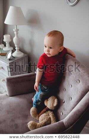 teddy bear on red armchair Stock photo © phbcz