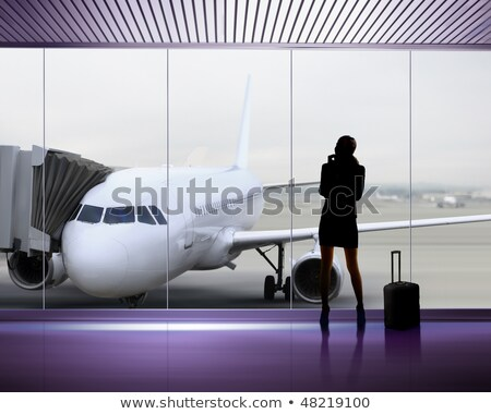 Photo stock: Femme · d'affaires · silhouette · vol · avion · aéroport · affaires