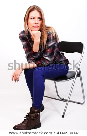 Charmant blond vrouw naar plafond studio Stockfoto © wavebreak_media