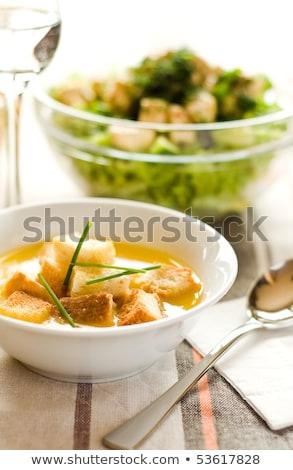 Сток-фото: кремом · суп · хлеб · воды · стекла · ресторан