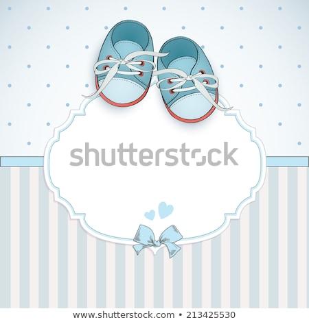 Bébé garçon carte texte chaussures félicitations Photo stock © compuinfoto