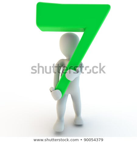 3D Human charcter holding number seven stock photo © Giashpee