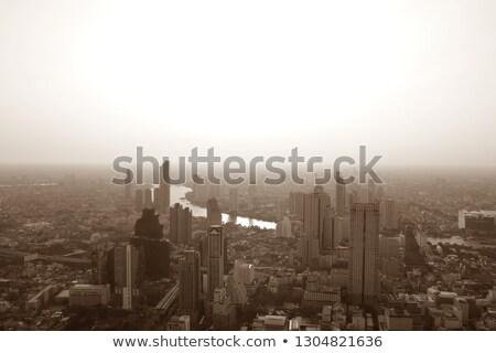 Szépia Bangkok város városkép kilátás irodaépületek Stock fotó © cgsniper
