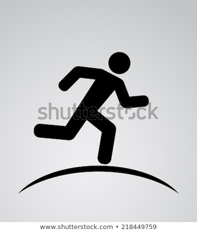 athletic running pictogram on black background stock photo © seiksoon