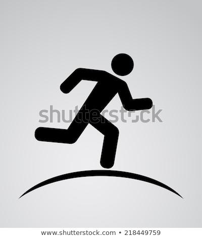 Atletisch lopen pictogram zwarte kleurrijk woorden Stockfoto © seiksoon