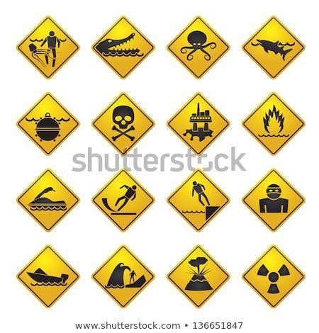 River Warning Sign Zdjęcia stock © stoyanh