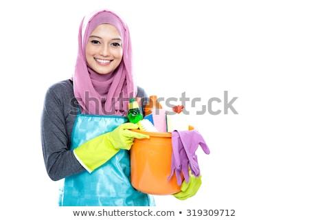 Stock fotó: Boldog · fiatal · szobalány · hordoz · takarítószerek · fehér