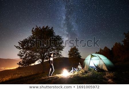 nostálgico · acampamento · tenda · fogueira · árvore · floresta - foto stock © mikko