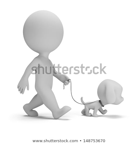 3d small people   walk the dog stock photo © anatolym