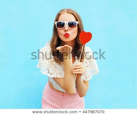 Fun Woman Blowing A Kiss Stock photo © williv