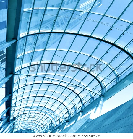 modern perspective glass roof corridor stock photo © anterovium