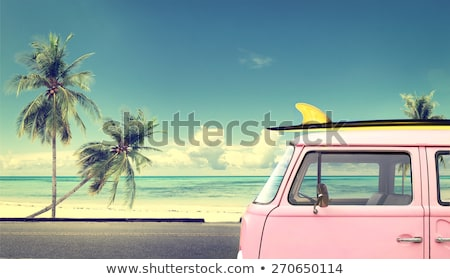 hippie · planche · de · surf · van · plage · couleur · logos - photo stock © pxhidalgo
