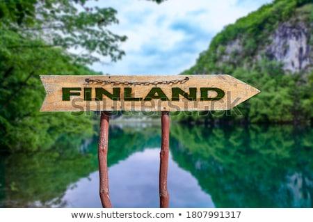 Finland illustratie ontwerp teken label Stockfoto © asturianu