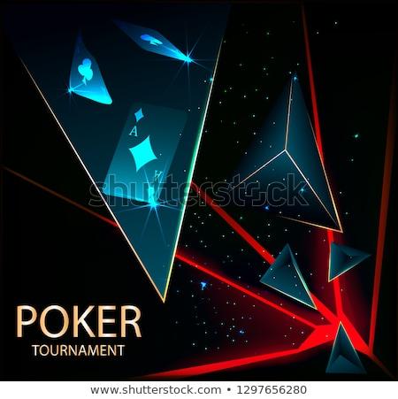 Kumarhane afiş poker kartları arka plan ağ Stok fotoğraf © carodi