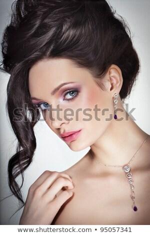 portret · mooie · jonge · vrouw · heldere · gouden · make-up - stockfoto © juniart