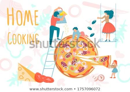 Cute девушки свежие пиццы молодые Сток-фото © gewoldi