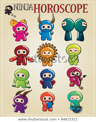 zodiac sign gemini with cute black ninja character vector stock photo © bluelela