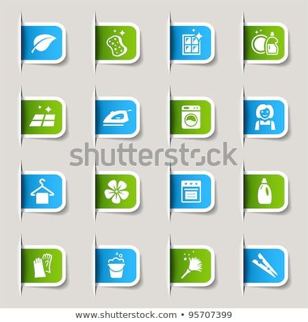 Сток-фото: прачечной · Label · зеленый · вектора · набор