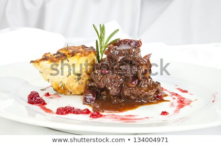 Stock photo: Venison ragout with potato celeriac mix