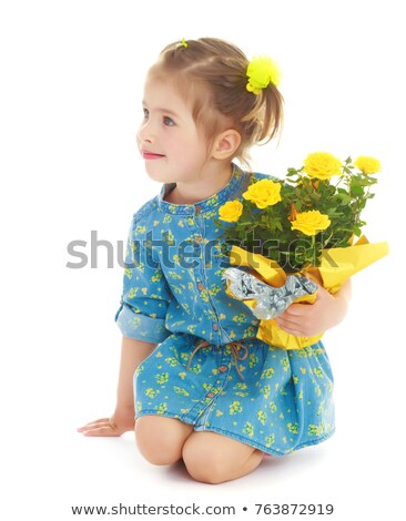 Stock photo: portrait of kneeling little girl in summer