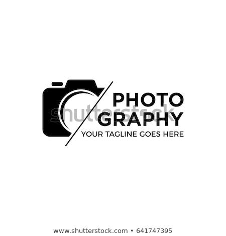 Fotografii logo aparat cyfrowy działalności film niebieski Zdjęcia stock © shawlinmohd