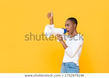 africano · americano · mulher · megafone · público - foto stock © dash
