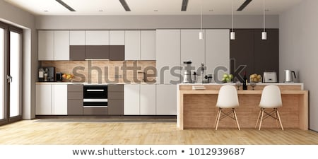 int rieur design cuisine sombre bois m tal photo stock pablo scapinachis armstrong. Black Bedroom Furniture Sets. Home Design Ideas